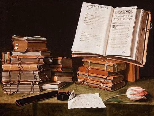 Natura morta con libri, lettera e tulipano (1640), by Charles Emmanuel Biset