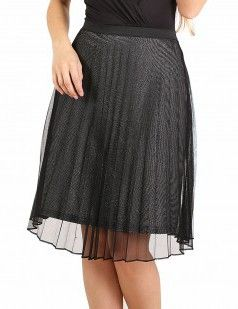 Black and silver pleated mesh skirt - Black & Metallic/Shine