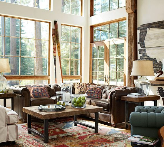 """We are seeing more """"rustic"""" pieces being brought back from the cabin...also """"reclaimed wood"""" touches are popular.  Griffin Coffee Table   Pottery Barn"""