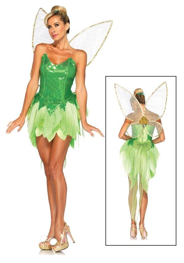 Tinkerbell Kostüm Fee Frauen Flügel grünes Kleid