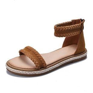 Mulheres Sandálias Sem salto Salto baixo Couro verdadeiro Sapatos