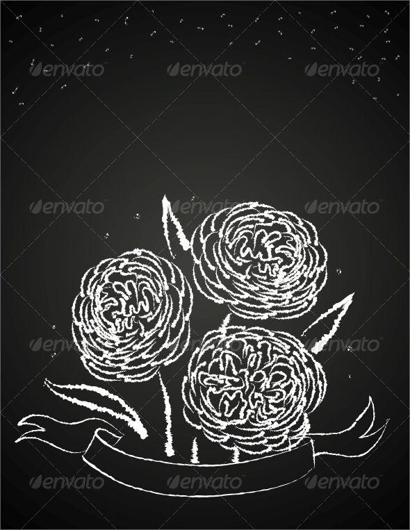 Chalk Flowers on Blackboard