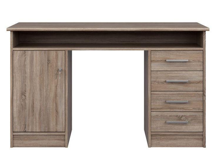 Function+Skrivebord+-+Brun+-+Pænt+skrivebord+i+et+klassisk+brunt+træ+design.+Skrivebordet+har+god+opbevaringsplads+med+fire+skuffer,+en+dør+med+to+hylder,+samt+en+hylde+på+længde+med+skrivebordspladen.+++