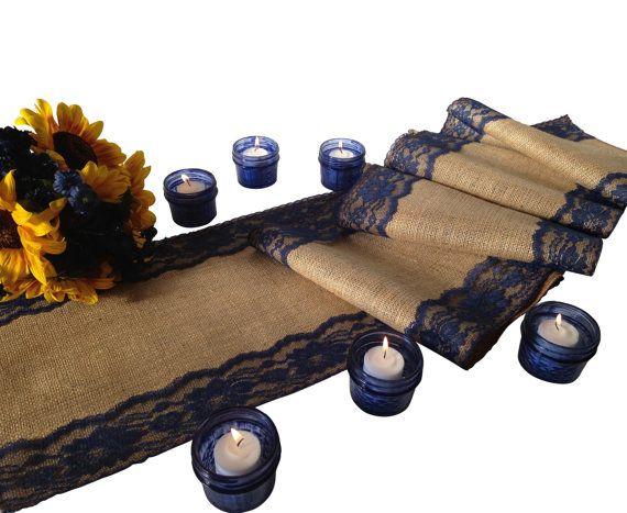 Burlap and NAVY/DARK BLUE Lace Table Runner by DawnWeddingDesigns