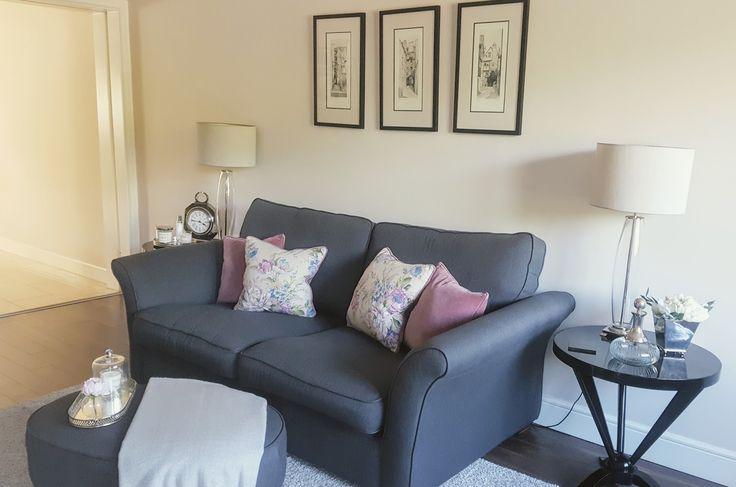Our living room. Sofa from DFS with Helen Turkington cushions. Edinburgh prints above sofa.