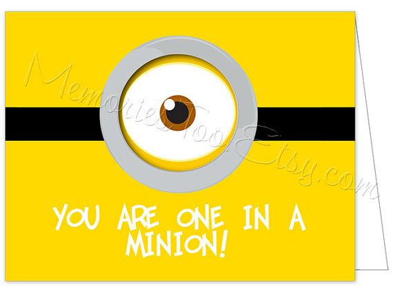you u0026 39 re one in a minion printable notecard instant by