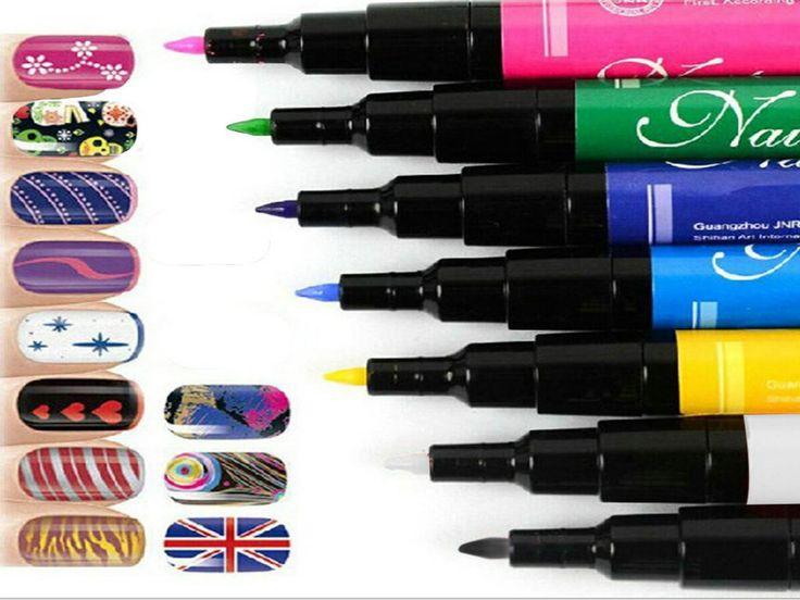 7 cores para escolher bonito Design Pro pintura desenho Pen ferramentas unhas Nail Art pena alishoppbrasil