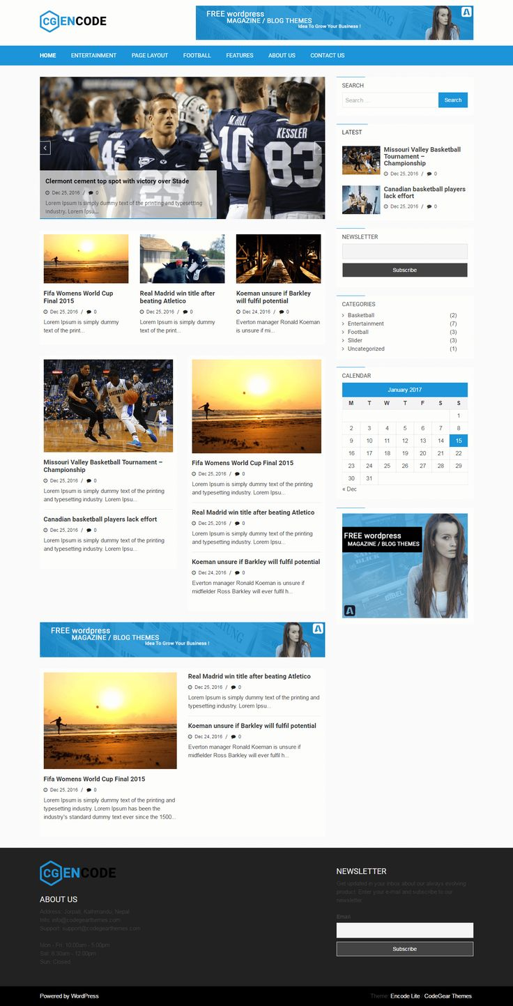 Free WordPress Responsive #Blogging, #Magazine, #Newspaper Theme, #Template https://www.codegearthemes.com/pages/encodelite-screenshot Try For Free