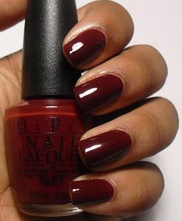 Bella Bama: Perfect nail polish color for fall- OPI Malaga Wine (Deep Red)