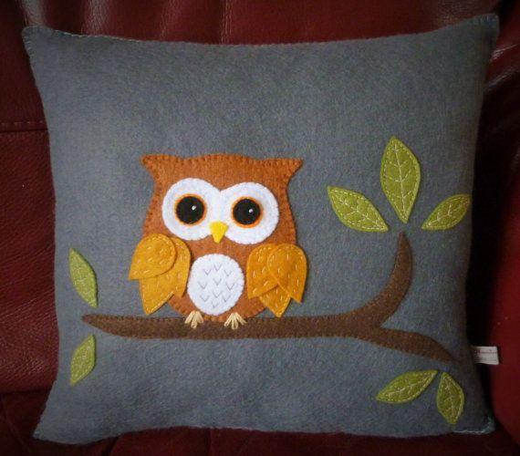 Owl Applique Felt Cushion Decorative Cushion by SewJuneJones & Best 25+ Applique cushions ideas on Pinterest | Applique ideas ... pillowsntoast.com