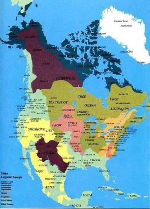 Native mappa lingua tribù americana.