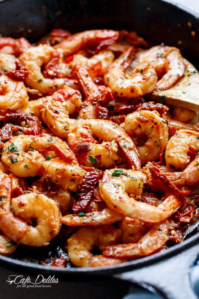 Spicy Garlic Sun Dried Tomato Shrimp | http://cafedelites.com
