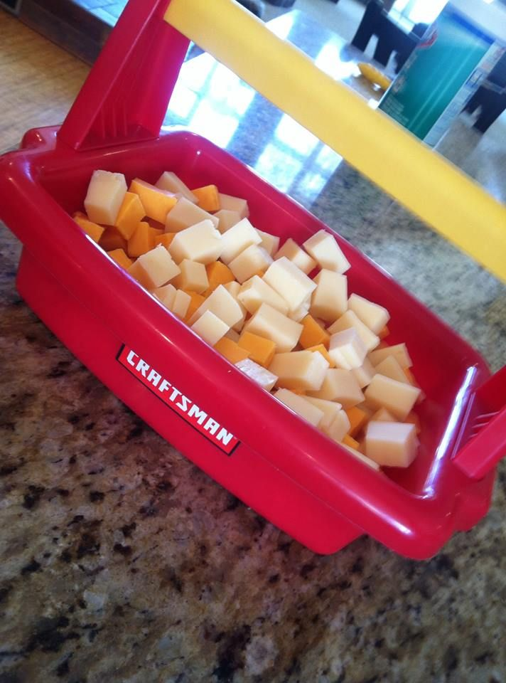 Toy Tool Box for Cheese!   Construction Theme Birthday Party / Handy Manny / Bob the Builder / 4th Birthday / Toddler Birthday / Boy Birthday Party / Food / Cheese / Cheese Cubes / Craftsman Tool Box