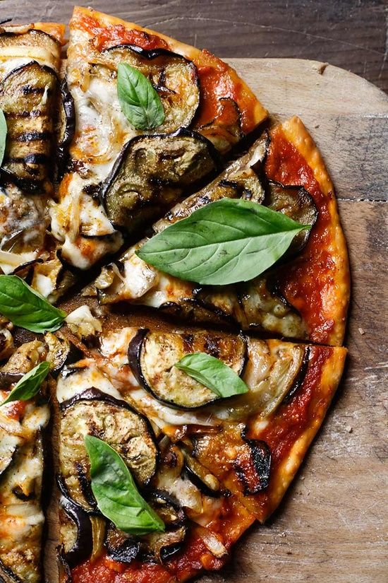 grilled aubergine pizza.