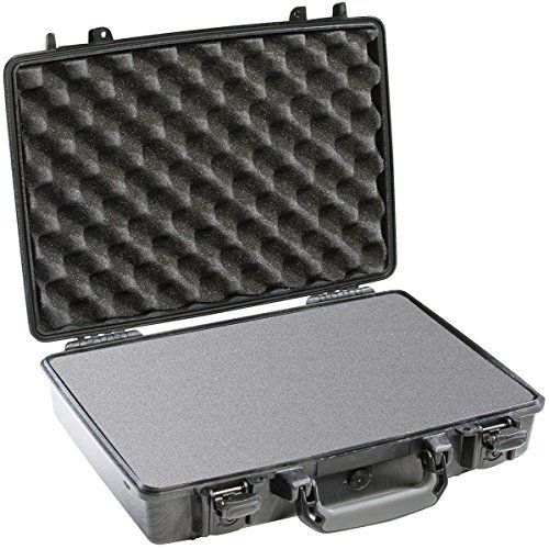 Pelican Laptop Case with Foam – Black (1490-000-110)  The Pelican 1490 Laptop Case with Foam is watertight, crushproof, and dust proof. It is designed to fit notebook computers up to 17.3″ L x 11.0″ W x 3.3″ D. It comes with a three piece foam set to keep your valuables firmly in place. This strong, lightweight case is waterproof, coming with an O-ring seal and automatic pressure equalization valve, making it easy to open. With a comfortable rubber over-molded handle and strong stain..