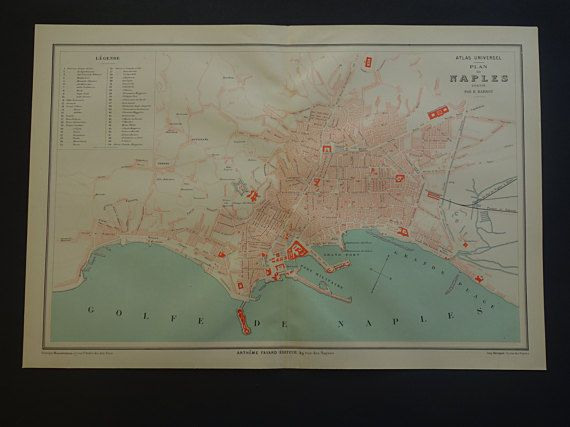 NAPLES old map of Naples Italy 1879 beautiful by VintageOldMaps