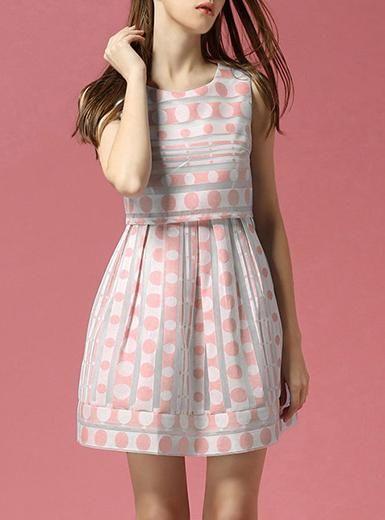 Women's Polka Dot Short Dress - Chiffon / Pink