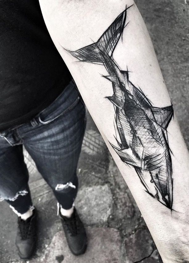 Inez Janiak shark tattoo