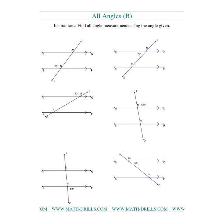 Geometry Worksheet Finding Angle Measurements B