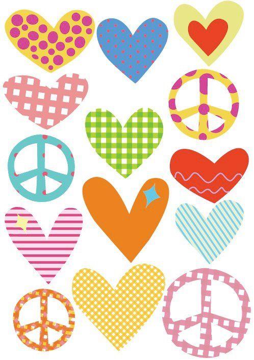 corazones y símbolos de la paz