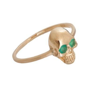 Zoe and Morgan Gold & Emerald Skull Ring
