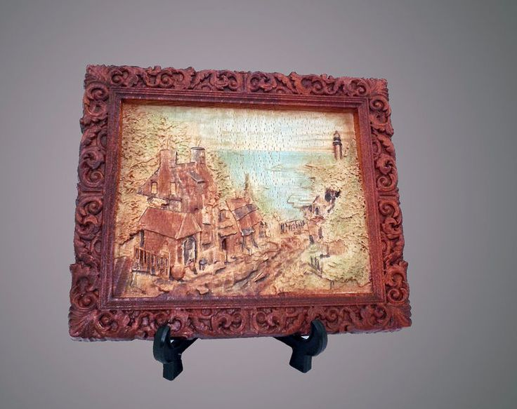 Pannello decorativo quadro in legno faggio bassorilievo