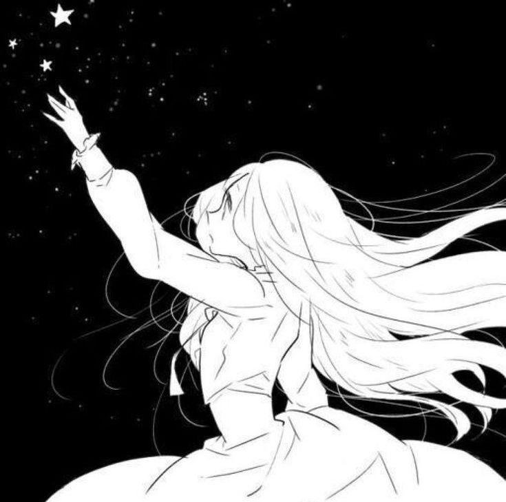 Черно-белые картинки аниме девушки