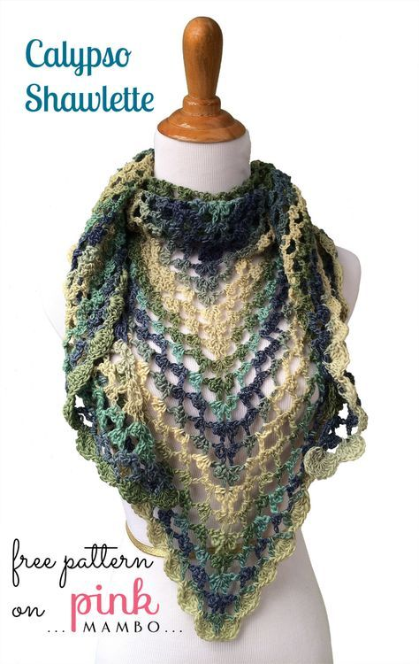 Beautiful blue green waves accented with a delicate shell stitch border form this seafaring shawlette. ~ free pattern