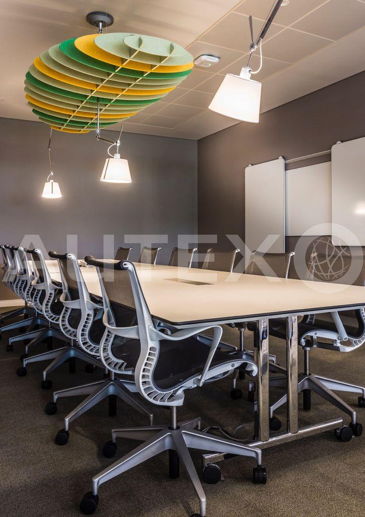 Quietspace® Lattice, Eclipse - Acoustic Baffles - Overbury, UK - Suspended from ceiling - Colour: Acros, Bosco & Senado - Modern Office Space