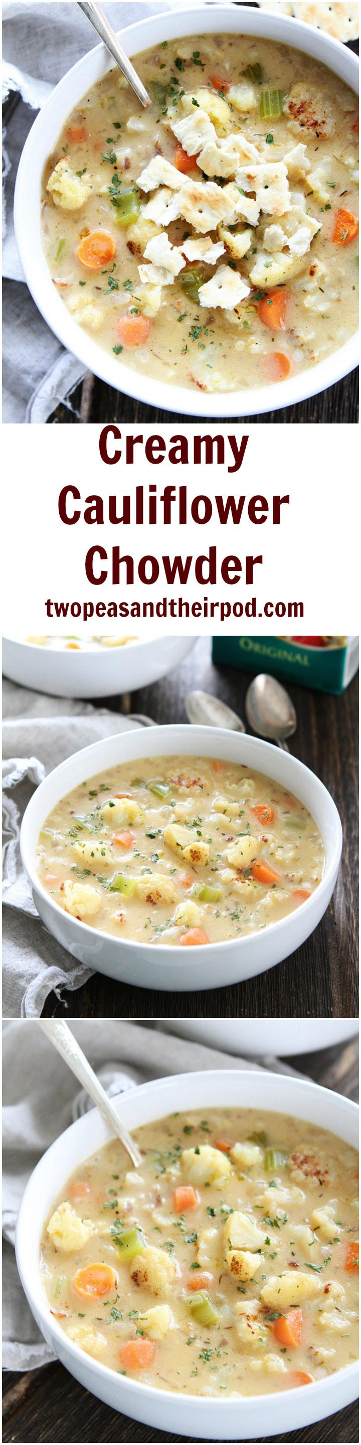 Creamy Cauliflower Chowder Recipe on twopeasandtheirpod.com This lightened up chowder is the BEST! Everyone loves this recipe!