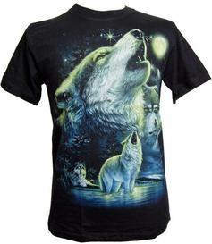 T-shirt - Glow in The Dark Wolf Howl Musta pimeässä hohtava kaksipuolinen susikuvioinen t-paita Ulvova susi 26,70 e XXL
