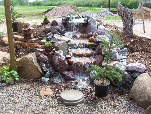 Pin by homes alive pets on backyard ponds for Small pond waterfall design