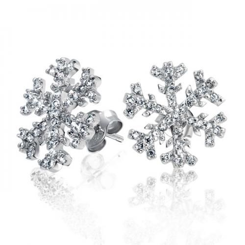 Micro Pave CZ .925 Sterling Silver Winter Snowflake Stud Earrings