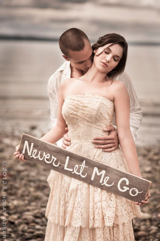 Engagement Photo Prop Wedding Signs Hand painted Never Let Me Go Wedding Photos Message in a bottle shoot. $45.00, via Etsy.