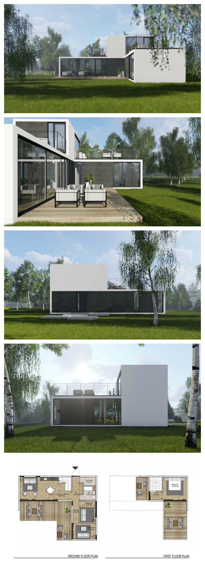 Nordic light -  modern 90 m2 prefabricated house manufactured by Compact living Nordic, designed by NG architects