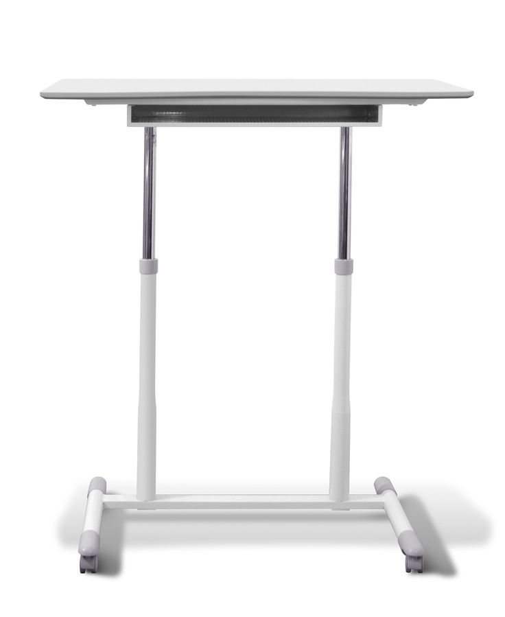 Features:  -Ergonomics collection.  -Durable ergonomic curved desktop.  -Locking wheels for easy mobility and stability.  Desk Type: -Standing desk.  Base Finish: -Metal.  Top Material: -Manufactured