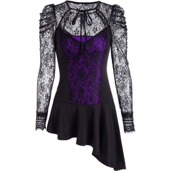 Long Sleeve Asymmetrical Lace Peplum Blouse ($16) ❤ liked on Polyvore featuring tops, blouses, lace peplum blouse, long sleeve tops, extra-long-sleeve shirts, long sleeve asymmetric top and lace peplum top