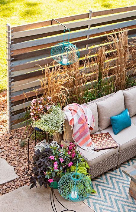 insulate your lounge area from the neighbors with a privacy screen weave cedar planks through