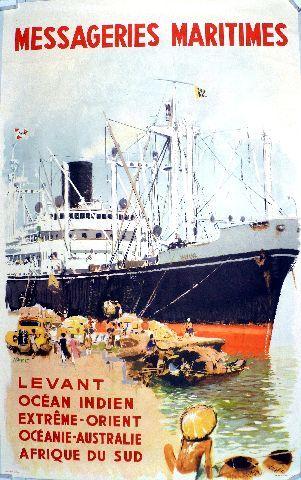 Brenet - Messageries Maritimes - 1952 vintage poster