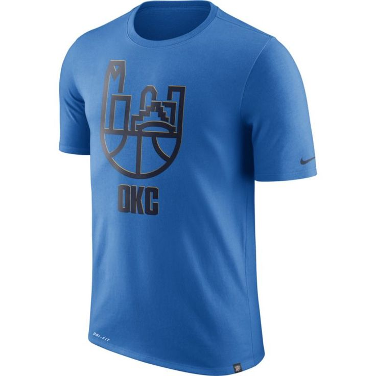 Nike Men's Oklahoma City Thunder Dri-FIT Blue Cityscape T-Shirt, Size: Medium