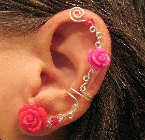 "Non Pierced Ear Cuff  ""Roses are Hot Pink"" Cartilage Conch Cuff Some Rose COLORS are on BACK ORDER Color Choices. $12.00, via Etsy."