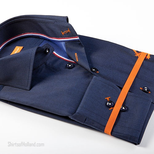 Oranje Overhemd | Blauw met leeuw overview