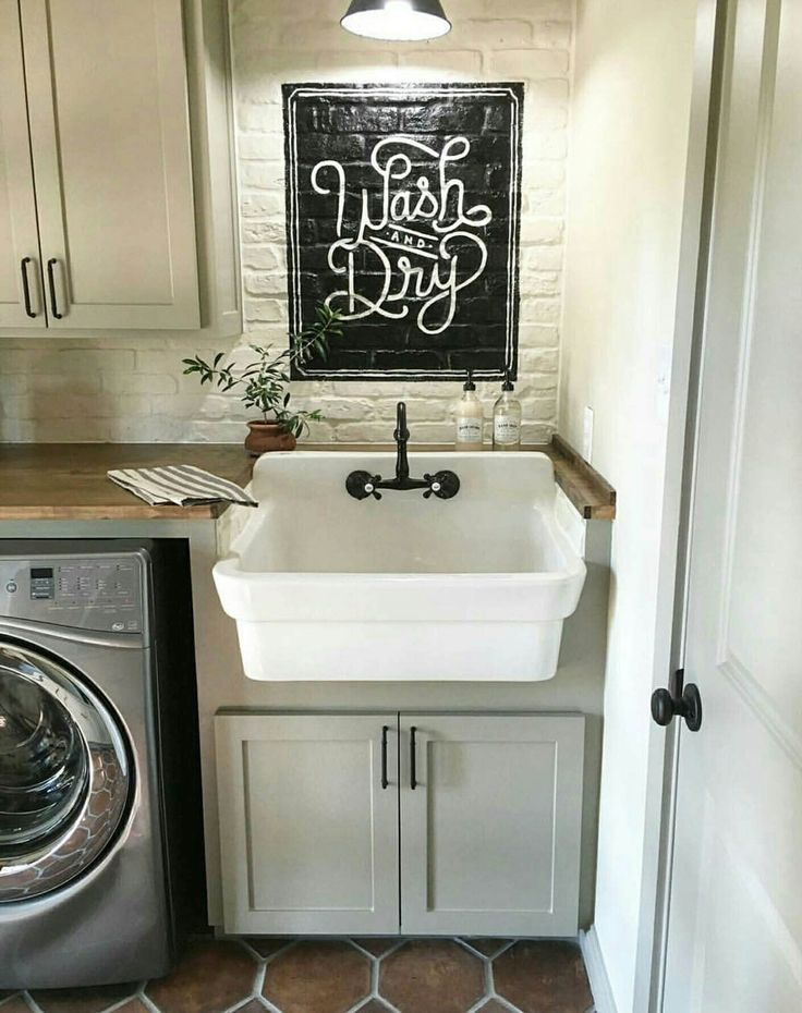 """Farmhouse Sink Plus """"Wash and Dry"""" Sign"""