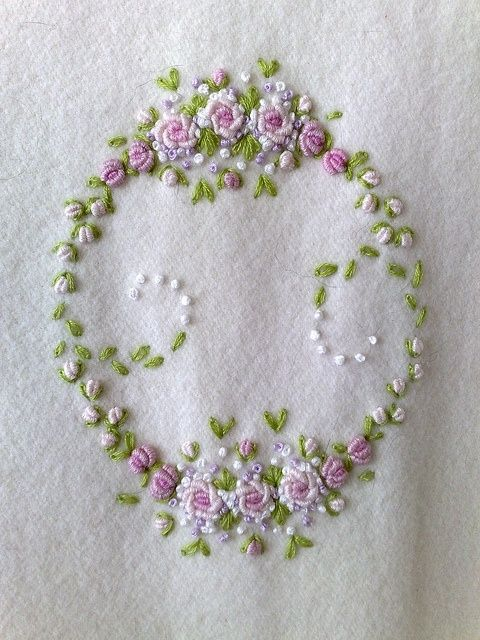 Bullion stitch embroidered roses by Feito a Mao