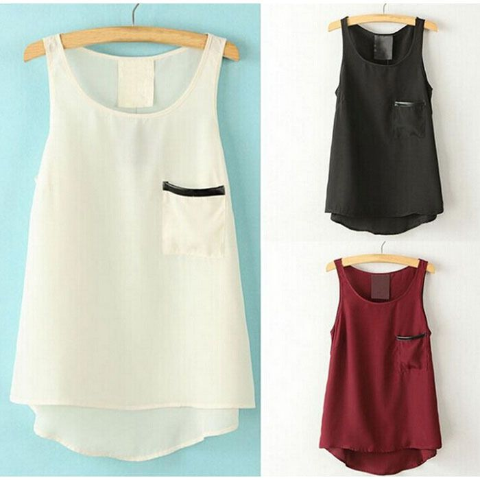 Candy Color Women Loose Casual Pocket Chiffon Sleeveless Shirts Round Neck Vest Blouse Shirt Women Ladies Tops 2015