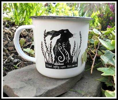 Image of 'Tread softly' enamelware mug