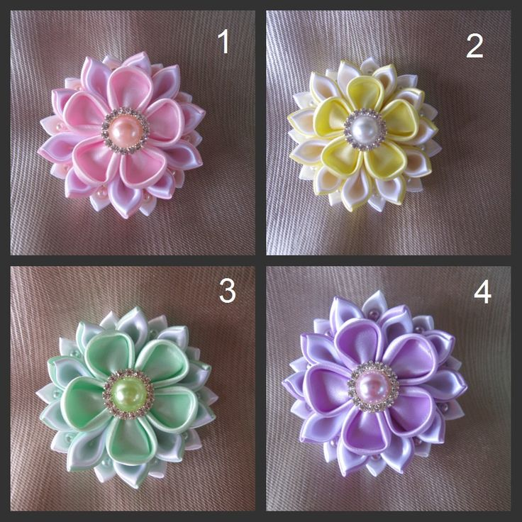 Handmade kanzashi satin flowers. Hair by AngelinasFlowers on Etsy