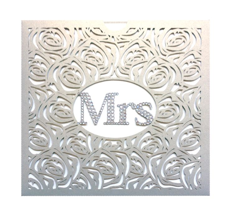 'Mrs' laser cut wedding card for the groom to send to his new wife www.intricatecreations.co.uk