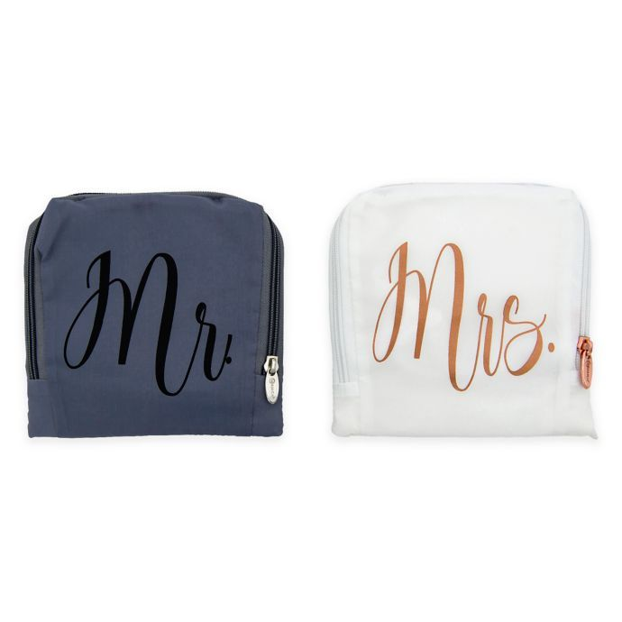 Miamica Mr And Mrs 2 Piece Travel Laundry Bags In White