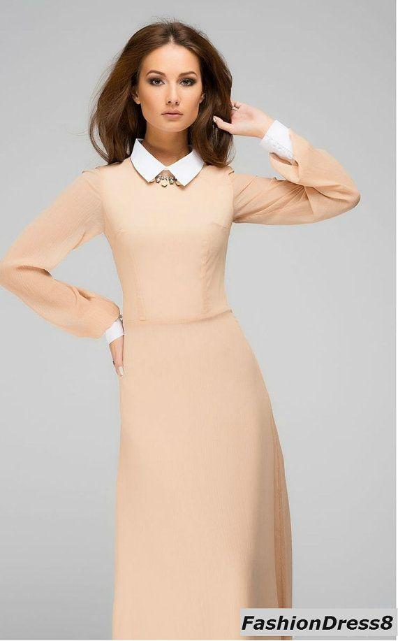 Peach Formal Maxi Dress Chiffon Long Dress Peter by FashionDress8